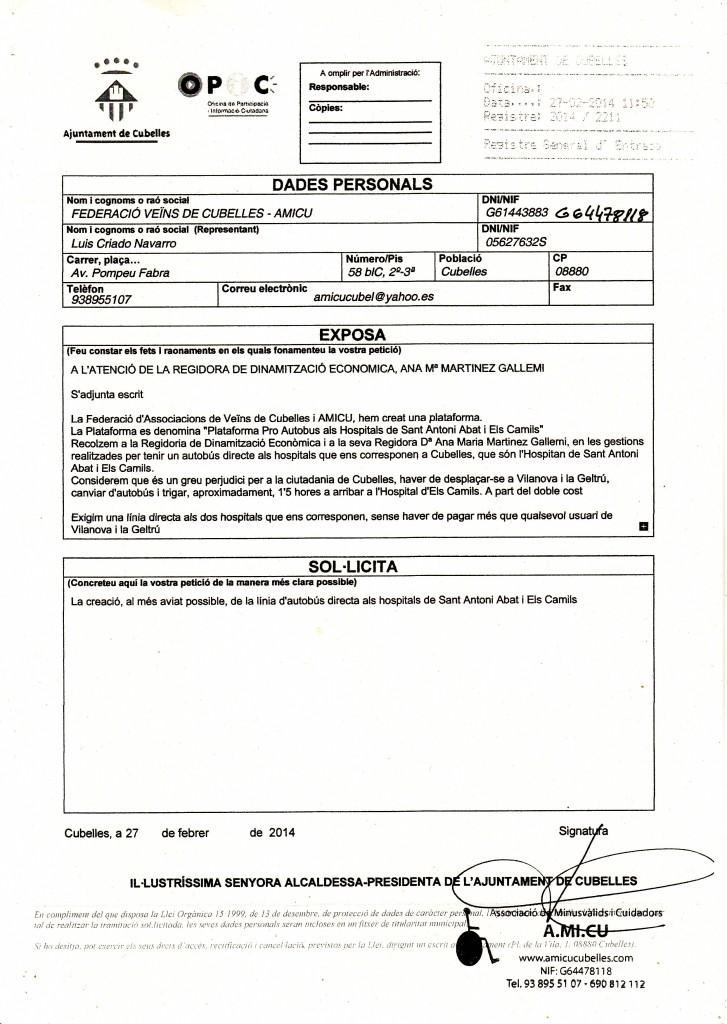 27-02-2014 INSTANCIA AUTOBUS DIRECTE A SANT ANTONI I ELS CAMILS