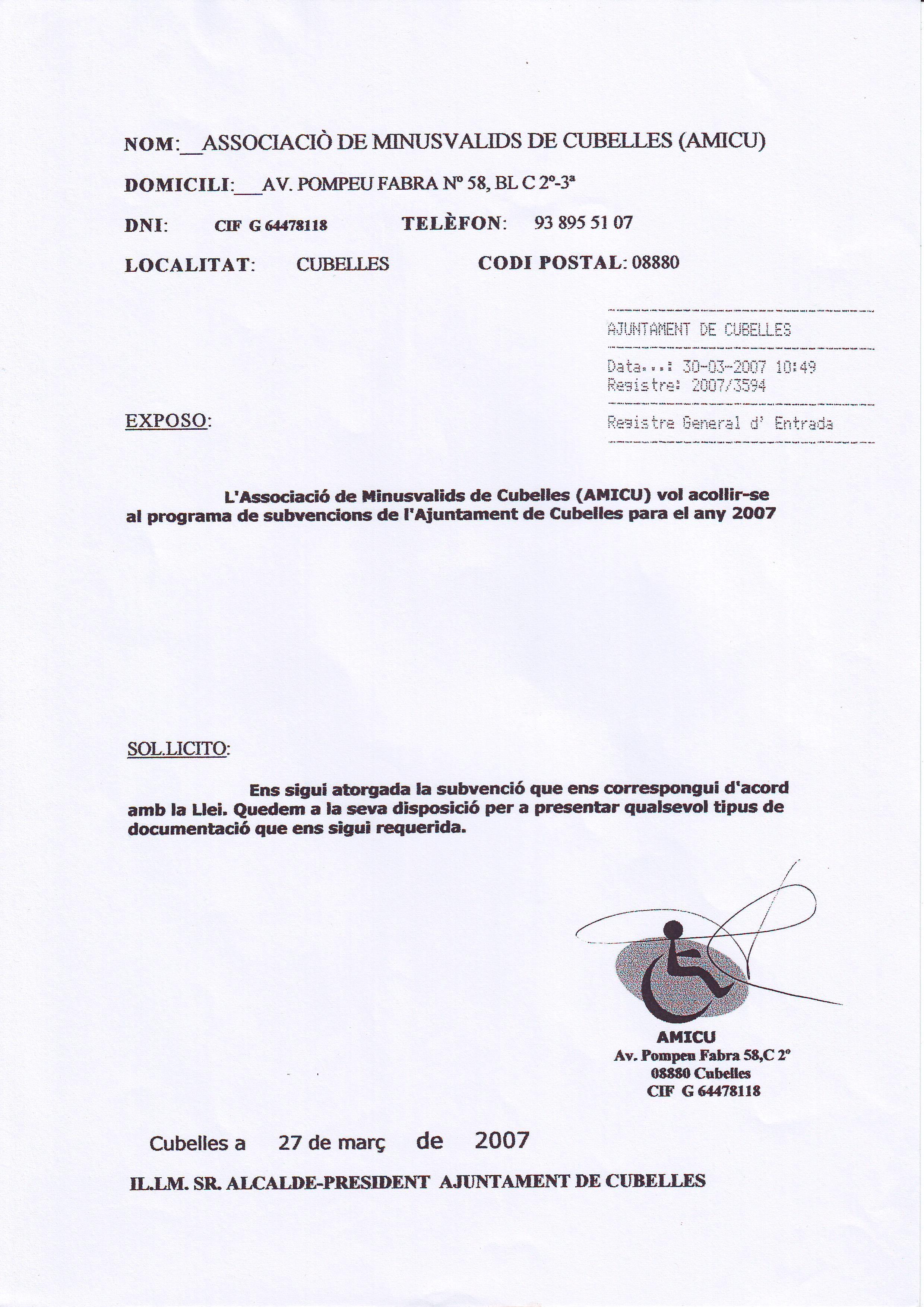 INSTANCIA- ACOGERSE AL PROGRAMA DE SUBVENCIONES 30-03-2007