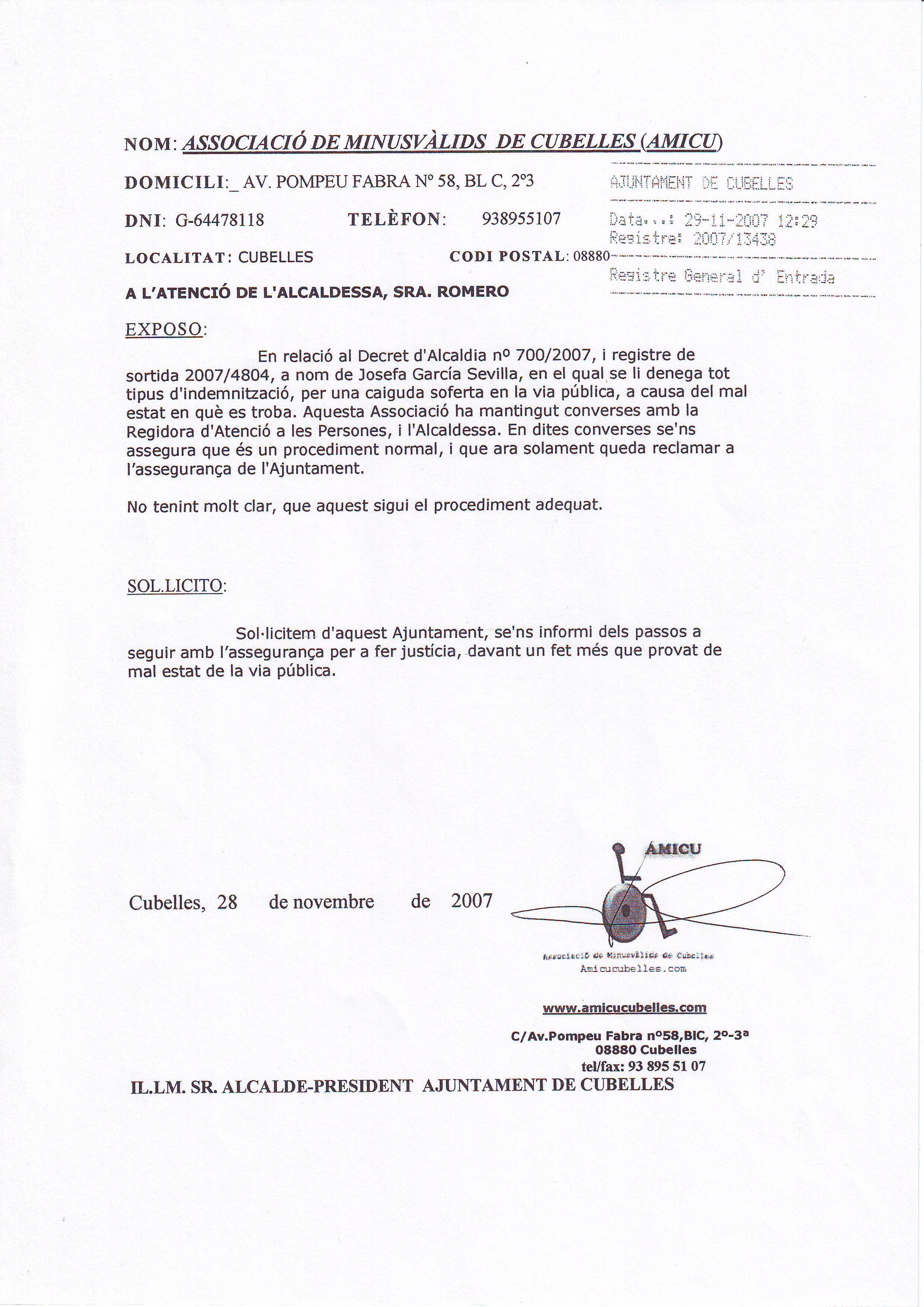 INSTANCIA-DECRETO ALCALDIA-JOSEFA GARCIA-CAIDA 24 JUNIO 2007- 29-11-2007