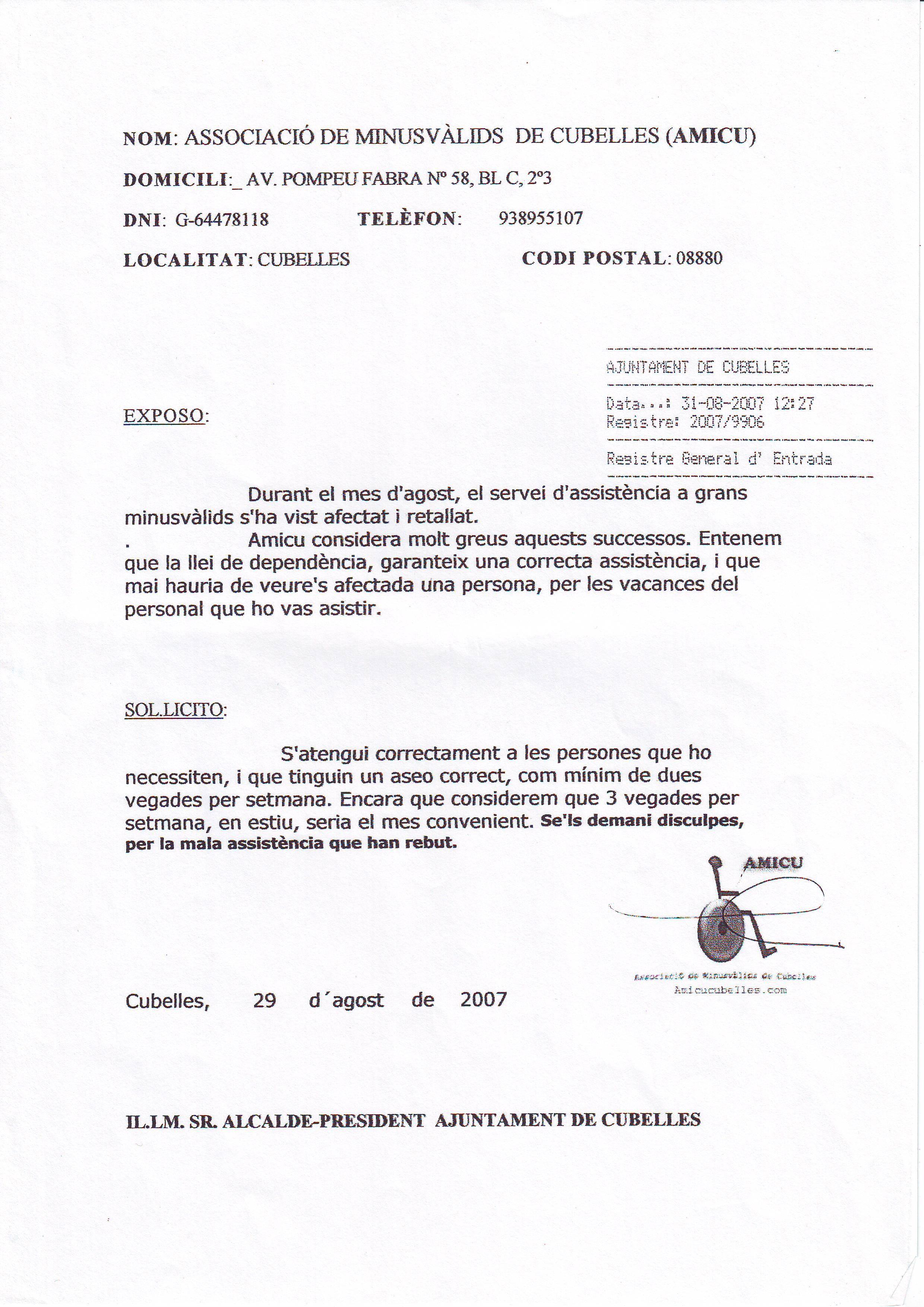 INSTANCIA DESATENCION DOMICILIARIA AGOSTO- 31-08-2007