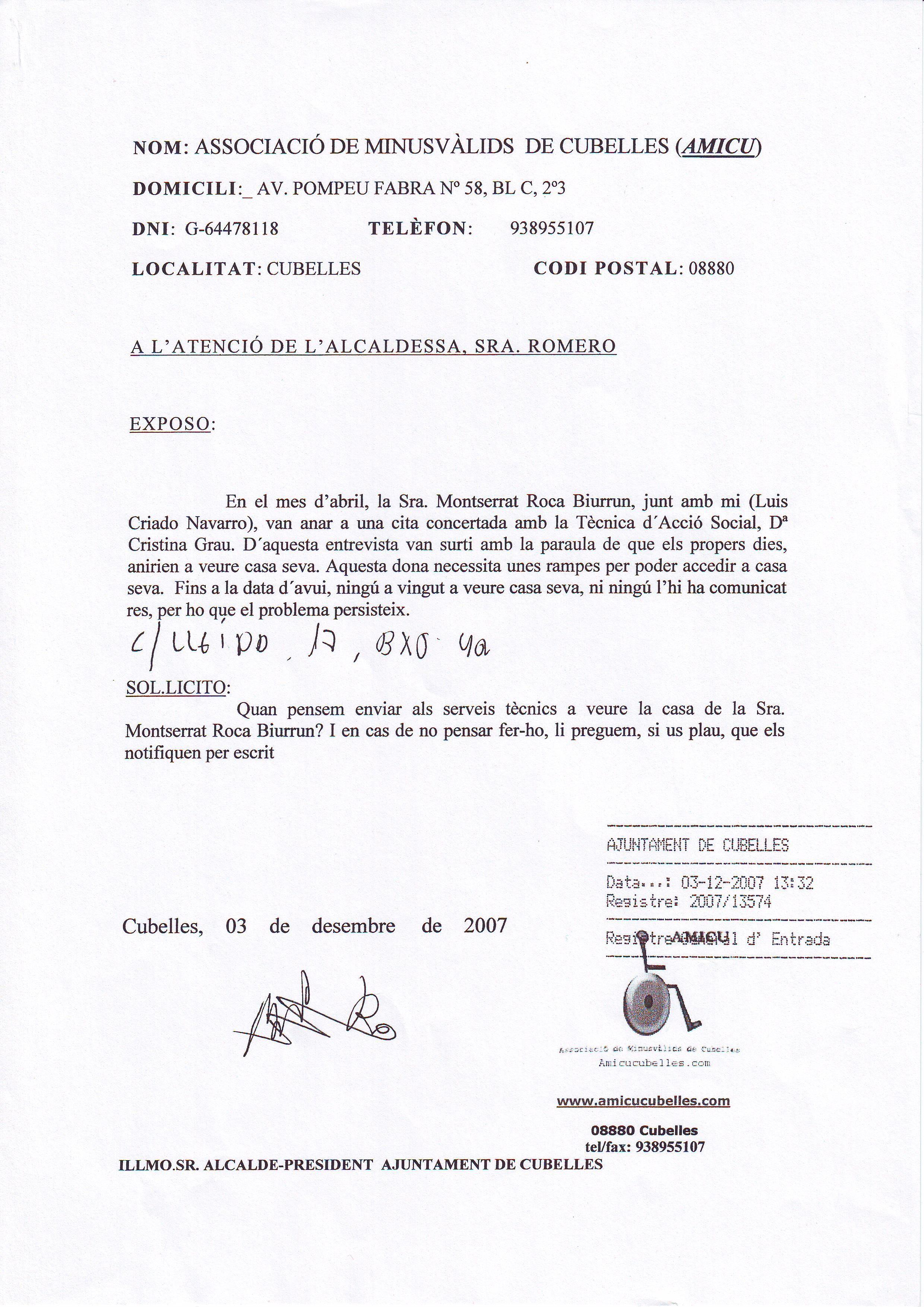 INSTANCIQA MONTSE ROCA- SERVIVIOS TECNICOS A SU CASA- 03-12-2007