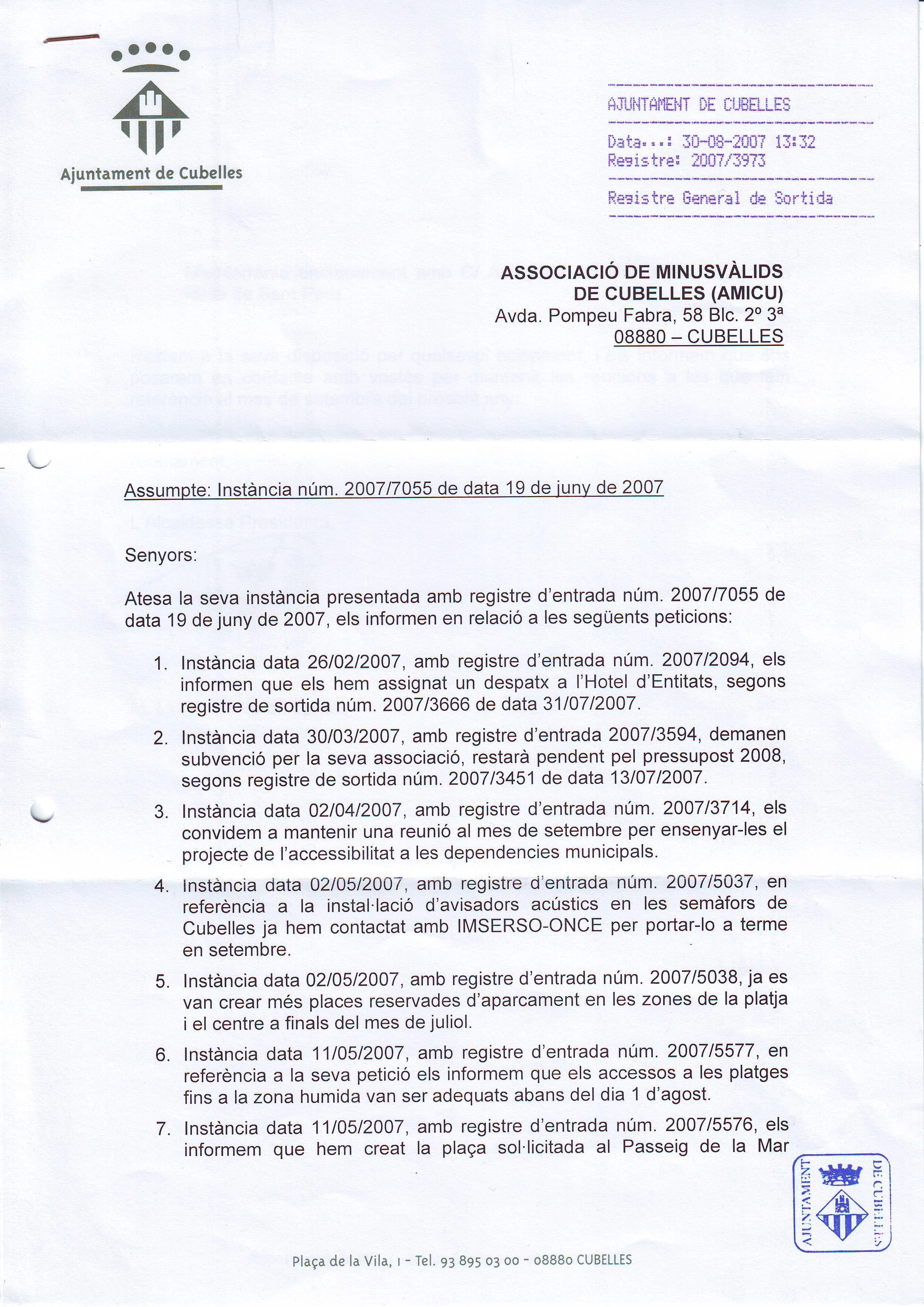 RESPUESTAS A INSTANCIA - 1 - RESPUESTA A VARIAS INSTANCIAS - 30-08-2008