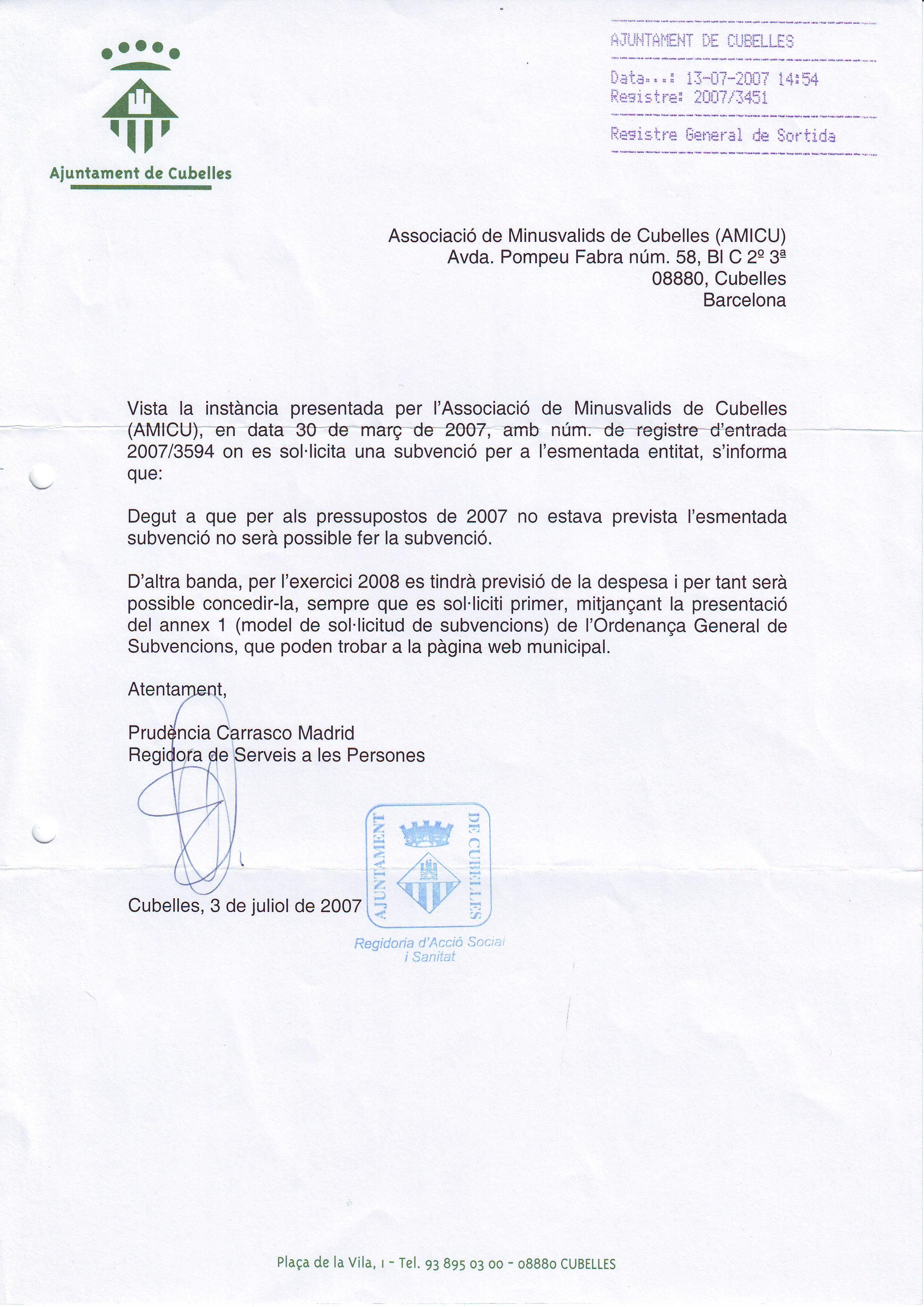 RESPUESTAS A INSTANCIA - SUBVENCIO AJUNTAMENT 2007 - 13-07-2007
