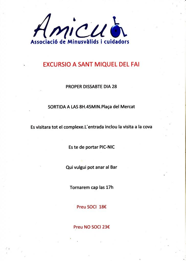 CARTEL EXCURSIO SANT MIQUEL DEL FAI