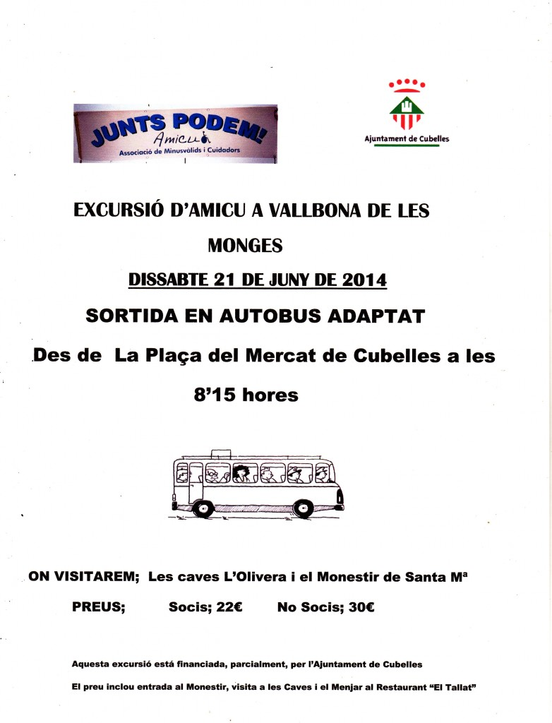 CARTEL EXCURSIO VALLBONA DE LES MONGES 21-06-2014